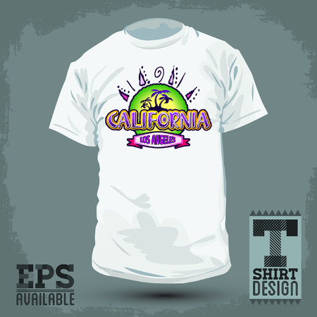 tittle: Graphic T- shirt design - California badge - emblem - silkscreen - Vector illustration