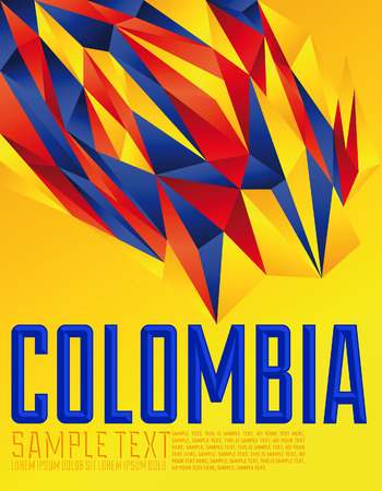 colombia flag: Colombia - Vector geometric background - modern flag concept - Colombian colors