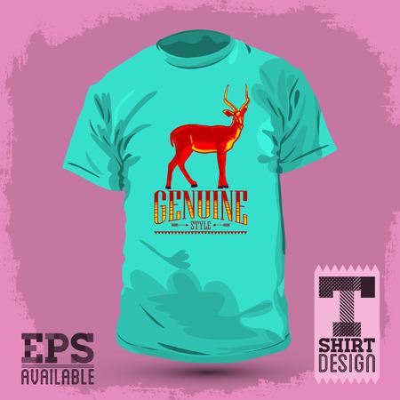 t shirt design: Genuine Style - impala vector vintage t shirt design - template Illustration
