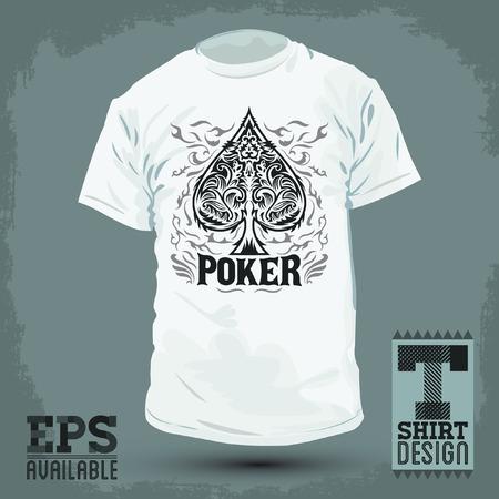 Graphic T- shirt design - Poker Spade emblem - silkscreen - Vector illustration