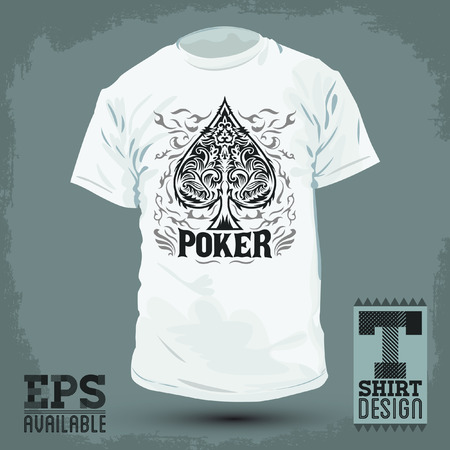 Graphic T- shirt design - Poker Spade emblem - silkscreen - Vector illustration Vector