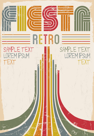 headings: Fiesta Retro editable poster - card template - vector illustration