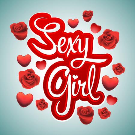 sexy meisje: Sexy Girl belettering vector - Rozen en harten badge Stock Illustratie