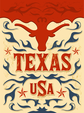 Texas Vintage poster - Card - western - cowboy style - Grunge effects can be easily removed Illustration