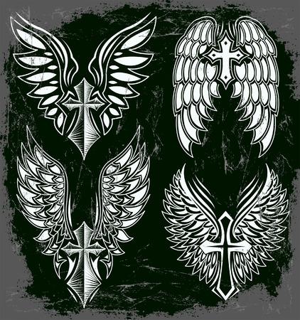 cross and wings: Vector Juego de cruz y alas - tatuaje - elementos - estilo oscuro - Grunge efectos se pueden quitar f�cilmente