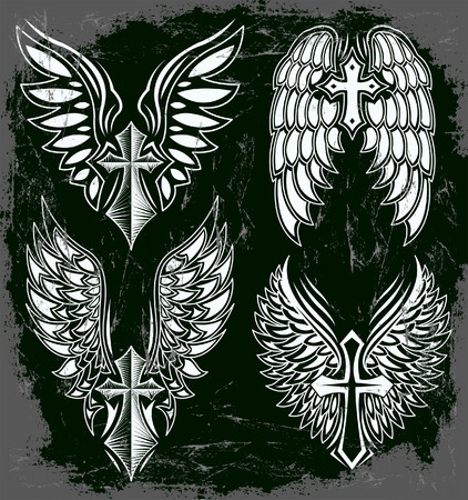 cross tattoo: Vector Set of cross and wings - tattoo - elements - dark style - Grunge effects can be easily removed Illustration