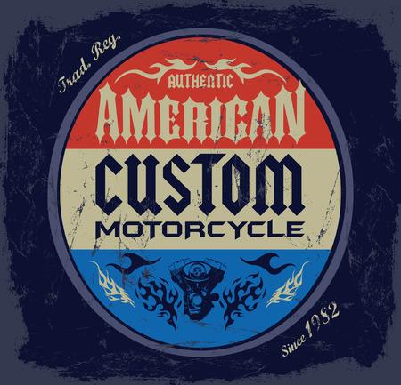 t shirt print: Costumbre americana - insignia Chopper Motorcycle - t - Dise�o impresi�n de la camisa