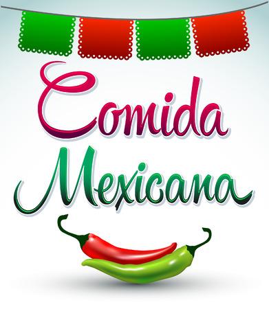 Comida Mexicana - mexican food spanish text - Vector illustration - lettering Vector