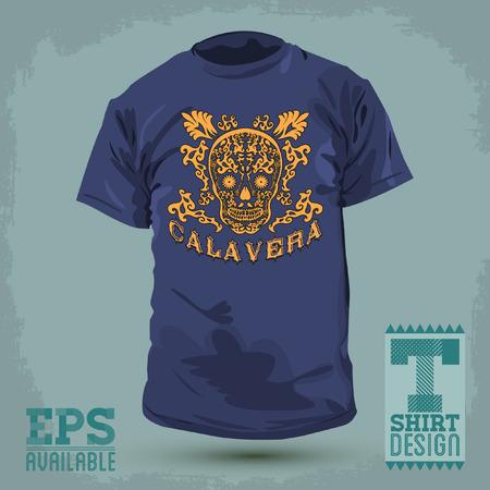 t shirt print: Dise�o Gr�fico T-shirt - Calavera - cr�neo espa�ol texto - ilustraci�n mexicana - t-shirt de impresi�n