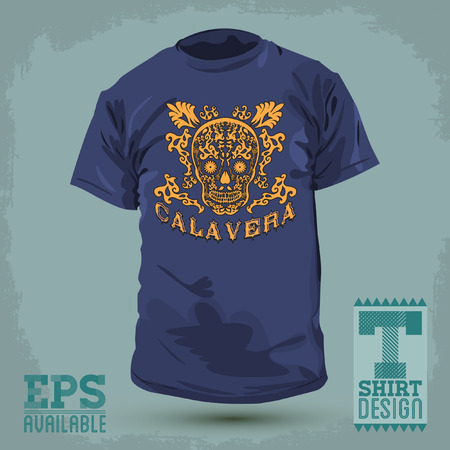 t shirt design: Graphic T- shirt design - Calavera - skull spanish text - Mexican illustration - t-shirt print