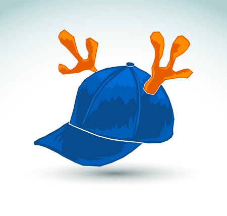 Illustration of a blue cap with reindeer horns - vector icon Vector