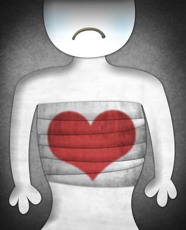 Carácter triste con el corazón dañado