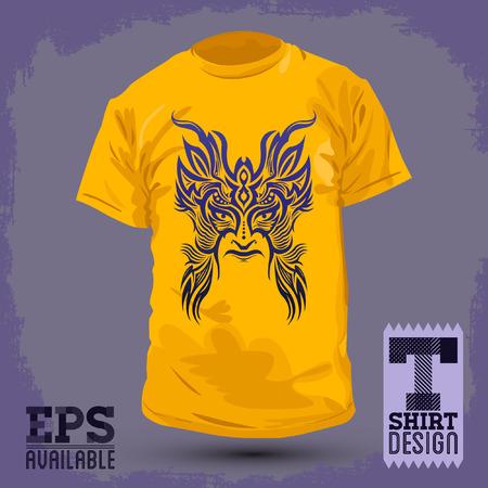 maschera tribale: Graphic T-shirt maschera design Tribal - illustrazione vettoriale Vettoriali