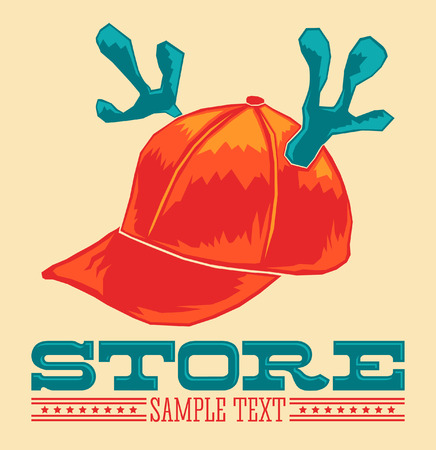 Vintage Store emblem - cap with reindeer horns - vector icon - add your text Vector