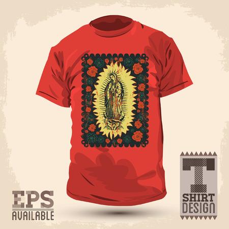 グラフィック T シャツ デザイン - メキシコ聖母グアダルーペ - ビンテージ シルク スタイル ポスター - ベクトル イラスト
