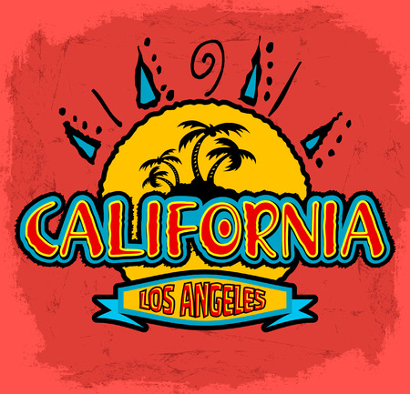 California - Los Angeles - vector badge - emblem - summer tropical heat print Vector