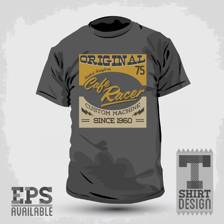 ace of clubs: Graphic T- shirt design - Cafe Racer vector emblem - badge - t-shirt print