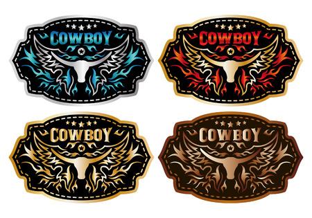 rodeo americano: Cinturón de hebilla de diseño vectorial Cowboy - colección de conjuntos - longhorn y vaquero
