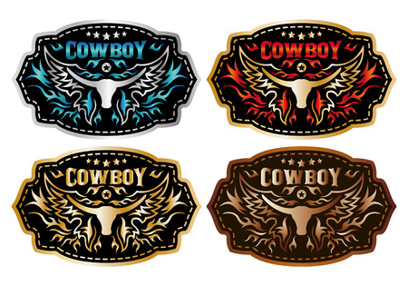 belt buckle: Cowboy belt buckle vector design - collection set - longhorn and cowboy