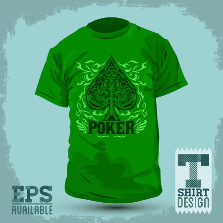 fashion design: Graphic T- shirt design - Poker Spade emblem - silkscreen - Vector illustration