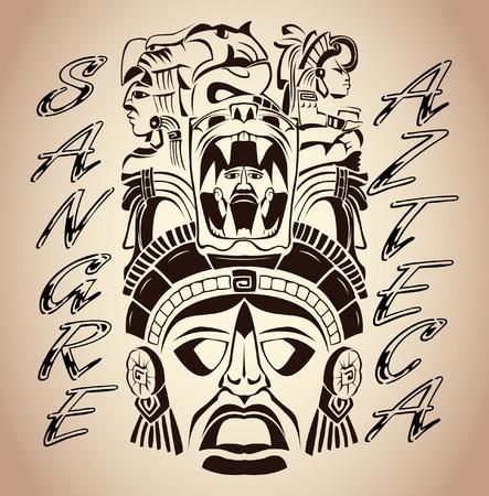 mayan culture: Sangre Azteca - Aztec blood - Aztec Pride - spanish text - tattoo design Illustration