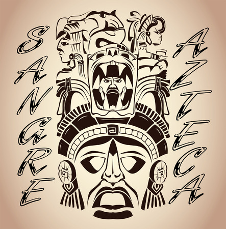Sangre Azteca - Aztec blood - Aztec Pride - spanish text - tattoo design Illustration