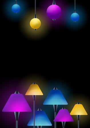 램프 - 클럽 바 스포트 라이트 배경 디자인 - 복사 공간 - 텍스트에 대 한 준비 스톡 콘텐츠