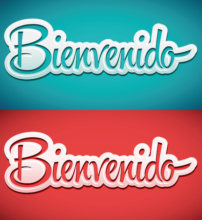 locution: Bienvenido - Welcome spanish text - lettering vector
