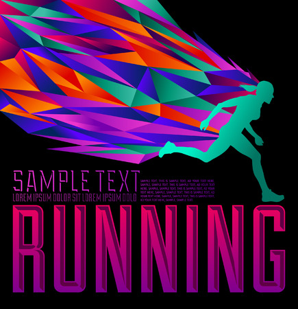 Running Design - Female silhouette running - abstract flames   energy Vector