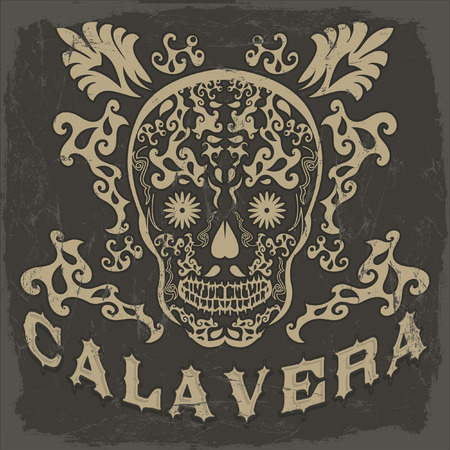 Calavera - skull spanish text - Mexican illustration - t-shirt print Vector