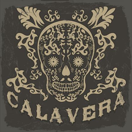 Calavera - skull spanish text - Mexican illustration - t-shirt print Vector