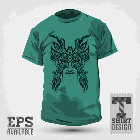 Graphic T-shirt design -Tribal mask - vector illustration  矢量图像