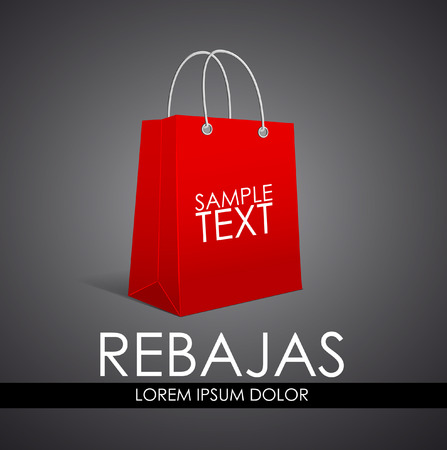 Rebajas - Sale, Discounts spanish text - vector poster template - shopping bag Vector