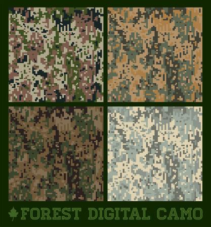 森林保護区-シームレスなベクトル デジタル迷彩コレクション  イラスト・ベクター素材