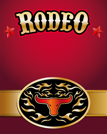 Rodeo poster - Bull skull belt buckle - Copy Space Vector