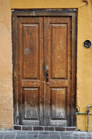 Front of an old mexican house - Colonial style door - San Miguel de Allende Mexico photo
