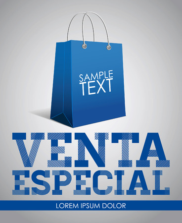 especial: Venta especial -  Special Sale spanish text - vector poster template - shopping bag Illustration
