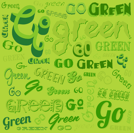 ozone friendly: Go Green Eco Word background vector pattern