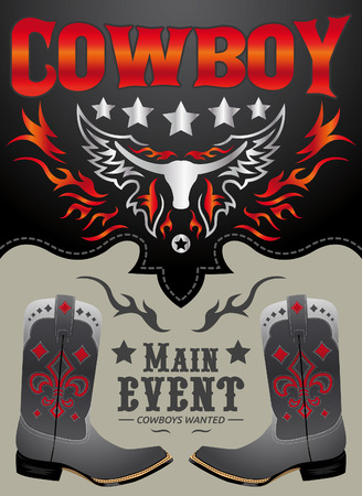 Cowboy main event poster vector - card - invitation template  イラスト・ベクター素材