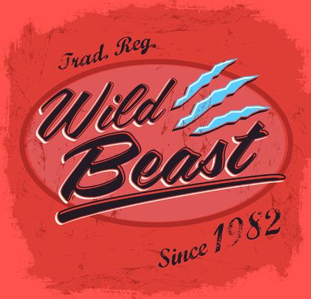 t shirt print: Wild Beast - letras vector vintage - dise�o de la camiseta de impresi�n