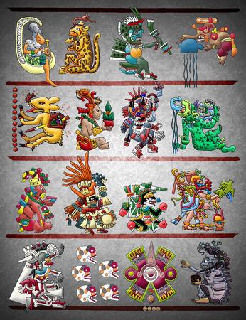 mayan culture: Mayan - Aztec codex illustration