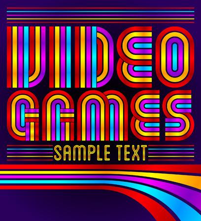 Video Games - vector lettering - eighties video games style
