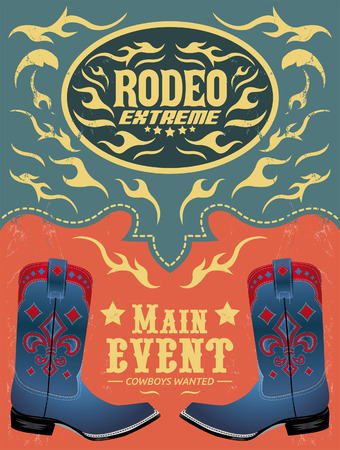 belt buckle: Rodeo Extreme - Cowboy event poster vector - invitation template Illustration