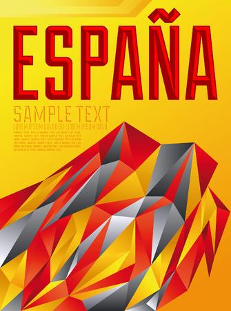 Espana - Spain spanish text - Vector geometric background - modern flag concept - Spanish colors