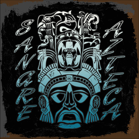 t shirt print: Sangre Azteca - Sangre Azteca - Aztec Pride - texto espa�ol - stencil - camiseta de impresi�n Vectores