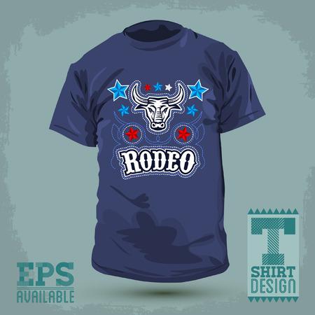 グラフィック T シャツ デザイン - ロデオの雄牛とベクター グラフィック - シャツの印刷の星