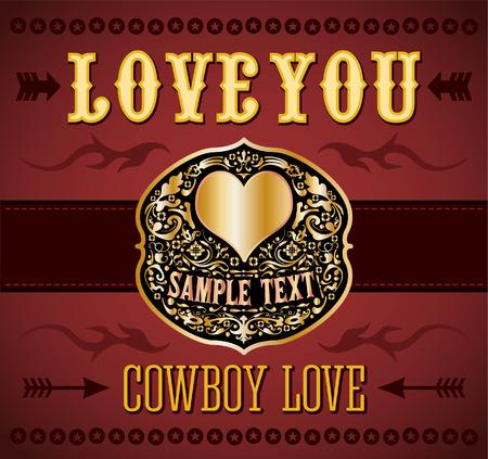 -カウボーイの愛 - ベルト バックル - ベクトル愛ビンテージ カードを愛してください。