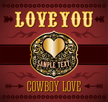 belt buckle: Love you - Cowboy love - belt buckle - vector love vintage card