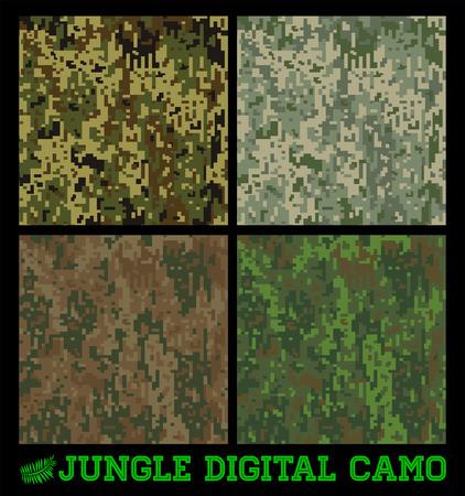 ジャングル - シームレスなベクトル デジタル迷彩コレクション  イラスト・ベクター素材