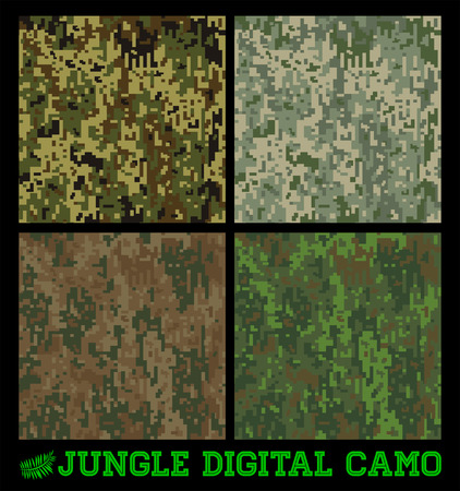 Jungle - Seamless vector digital Camouflage collection Vector